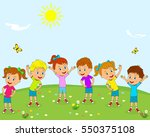 kids boys and girls are doing... | Shutterstock .eps vector #550375108