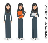 arab woman working character at ... | Shutterstock .eps vector #550380364