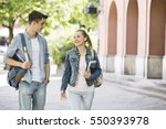 young college friends talking... | Shutterstock . vector #550393978