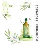 design set with olive branches... | Shutterstock . vector #550396573