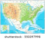 usa detailed physical map with... | Shutterstock .eps vector #550397998