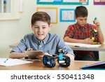 pupils in science lesson... | Shutterstock . vector #550411348