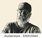 Old Bearded Man With Headphone...
