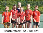 victorious school tennis team... | Shutterstock . vector #550431424
