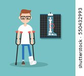 disabled nerd on crutches with... | Shutterstock .eps vector #550432993