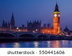 Big Ben Clock Tower On River...