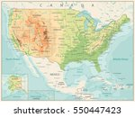 retro color physical map of usa ... | Shutterstock .eps vector #550447423