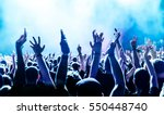 silhouettes of concert crowd in ... | Shutterstock . vector #550448740
