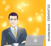 business man and laptop on... | Shutterstock .eps vector #550454710