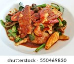 vegan food pork with chili oil... | Shutterstock . vector #550469830