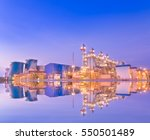 power plant with reflection... | Shutterstock . vector #550501489