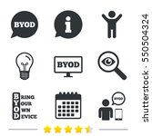 byod icons. human with notebook ... | Shutterstock . vector #550504324