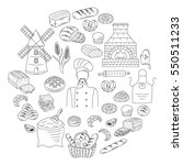 bakery collection with baker in ... | Shutterstock .eps vector #550511233