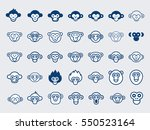 big vector set of monkey icons... | Shutterstock .eps vector #550523164