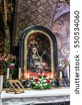 """Small photo of Jerusalem, Israel - December 26, 2014: XIII station of via Dolorosa, """"Jesus body is removed from the cross"""", left to the main altar on Golgotha in the Church of the Holy Sepulchre in Jerusalem."""