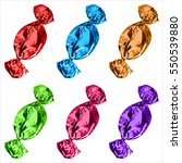 chocolates in shiny wrapper on... | Shutterstock .eps vector #550539880