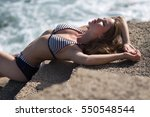 the girl in a bathing suit... | Shutterstock . vector #550548544
