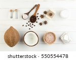 homemade coconut products on... | Shutterstock . vector #550554478