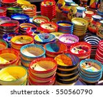 colored dishes in a provencal... | Shutterstock . vector #550560790