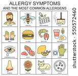 allergy symptoms vector linear... | Shutterstock .eps vector #550572460