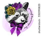vector racoon with wreath. hand ... | Shutterstock .eps vector #550590820