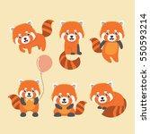 cute red panda on yellow... | Shutterstock .eps vector #550593214