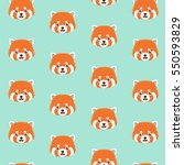 cute red panda on blue... | Shutterstock .eps vector #550593829
