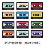 set of audio cassette old tape... | Shutterstock .eps vector #550599553