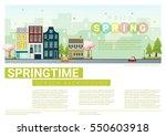 hello spring cityscape... | Shutterstock .eps vector #550603918