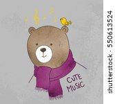 cute bear with bird | Shutterstock .eps vector #550613524