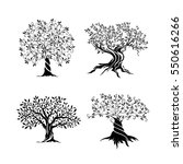 olive trees silhouette icon set ... | Shutterstock .eps vector #550616266
