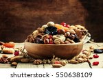 nuts and dried fruit mix ... | Shutterstock . vector #550638109