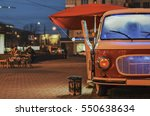 food truck on wheels in night... | Shutterstock . vector #550638634