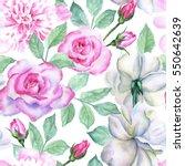 watercolor flower pattern | Shutterstock . vector #550642639