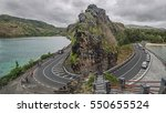 a road goes along the rock ...   Shutterstock . vector #550655524