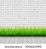 brick wall with green grass and ... | Shutterstock .eps vector #550662490