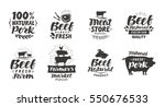 vector set of meat labels ...