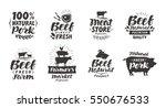 vector set of meat labels ... | Shutterstock .eps vector #550676533