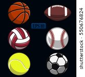 set of sports balls the dark... | Shutterstock .eps vector #550676824