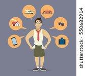 sad businessman no money paid... | Shutterstock .eps vector #550682914