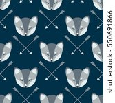 arctic fox heads and arrows... | Shutterstock .eps vector #550691866