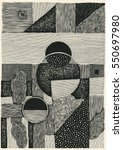 drawing halftone textures. hand ... | Shutterstock .eps vector #550697980
