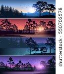 Stock vector set vector illustration of nature background header title website mountains lake landscape 550703578