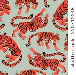 Seamless Pattern With Painted...