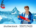 young man tourist with map...   Shutterstock .eps vector #550717420