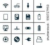 set of 16 computer hardware... | Shutterstock .eps vector #550727953