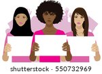 women protesting with crowd of... | Shutterstock .eps vector #550732969