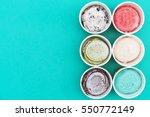 top view ice cream flavors in... | Shutterstock . vector #550772149