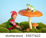 Boy Dressed As A Garden Gnome...