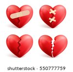 Broken Hearts Vector Set Of 3d...